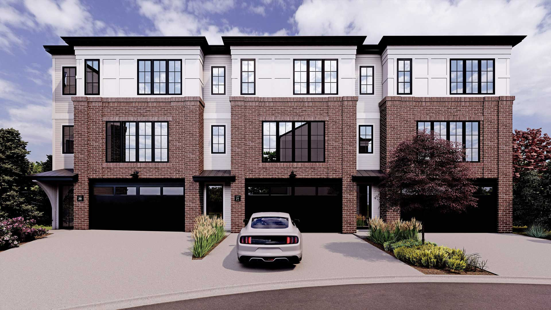 New Townhome Model in Griffith Pointe at Discovery Ridge the Rileyby RareBuilt Homes. Front Exterior Rendering. Brownstone and modern farmhouse.